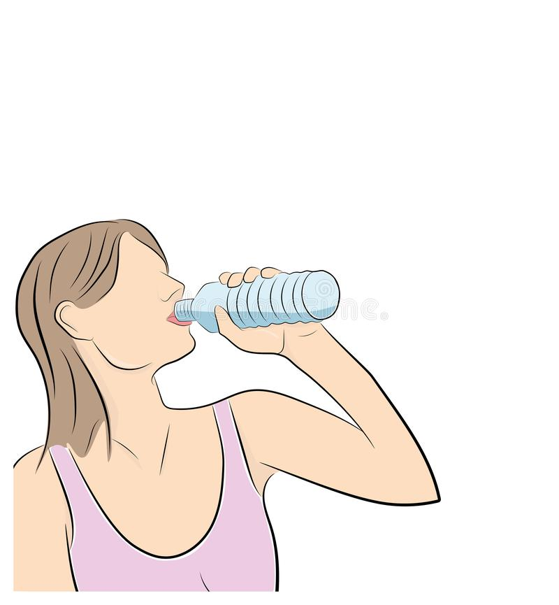Flickan är dricksvatten leka sportar också vektor för coreldrawillustration vektor illustrationer
