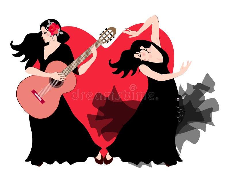 Flickan är en gitarrist, och utför iklädda svarta klänningar för en flickaflamencodansare på etapp mot bakgrunden av hjärta stock illustrationer
