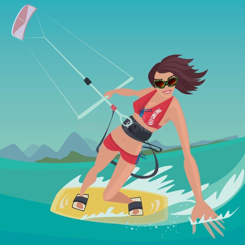 Flickan är förlovad, i kitesurfing royaltyfri illustrationer