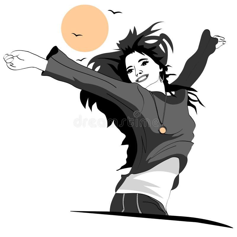 Flickan är jätteglad och glad stock illustrationer