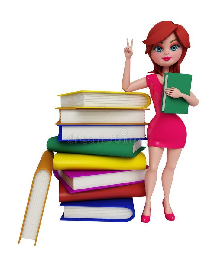 flickan 3d med seger poserar stock illustrationer