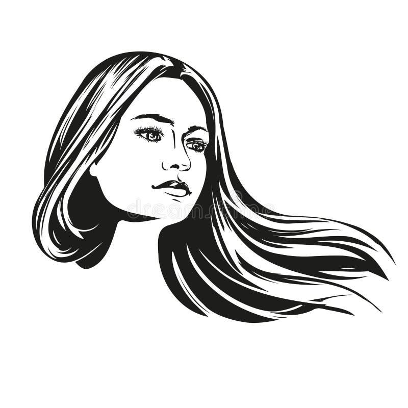 Flickan den härliga illustrationen för vektorn för kvinnaframsidan handen drog skissar vektor illustrationer