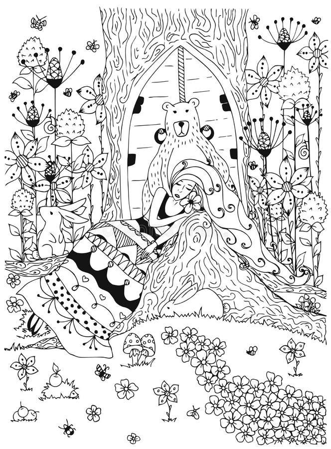 Flickan för kvinnan för vektorillustrationzentangl som sover under djur för klottret för träditheskogen, blommor, uthärdar dörren vektor illustrationer