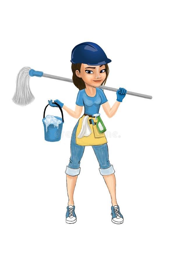 flickan för torkduken för cleaning för den asiatiska flaskan för bakgrund härliga isolerade den caucasian gulliga roliga ladyen b royaltyfri illustrationer