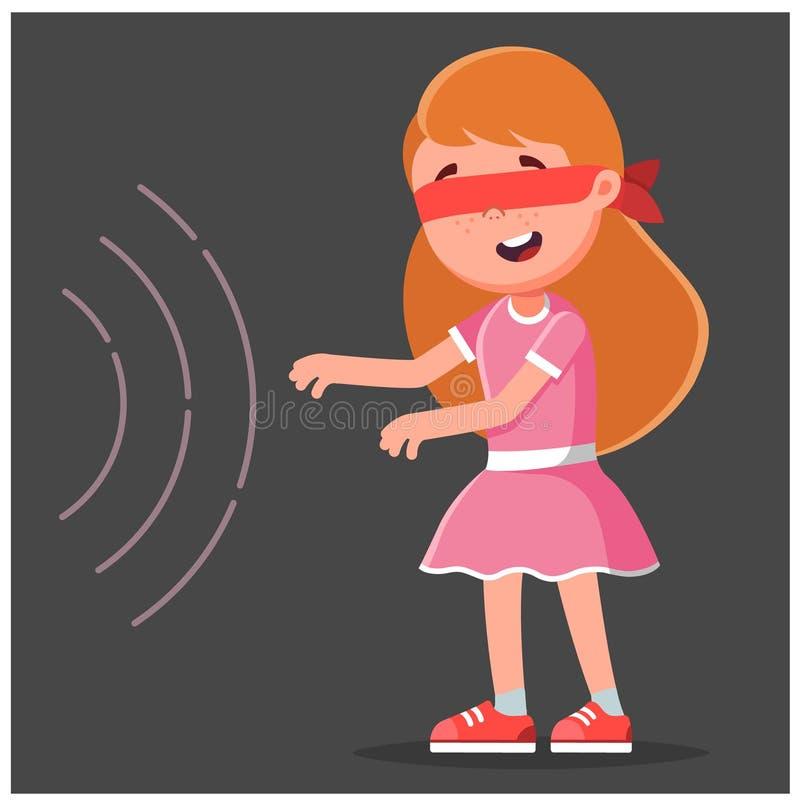 Flickan går till ljudet i ögonbindeln Svart bakgrund royaltyfri illustrationer
