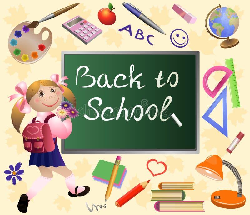 Flickan går tillbaka till skolan. vektor illustrationer