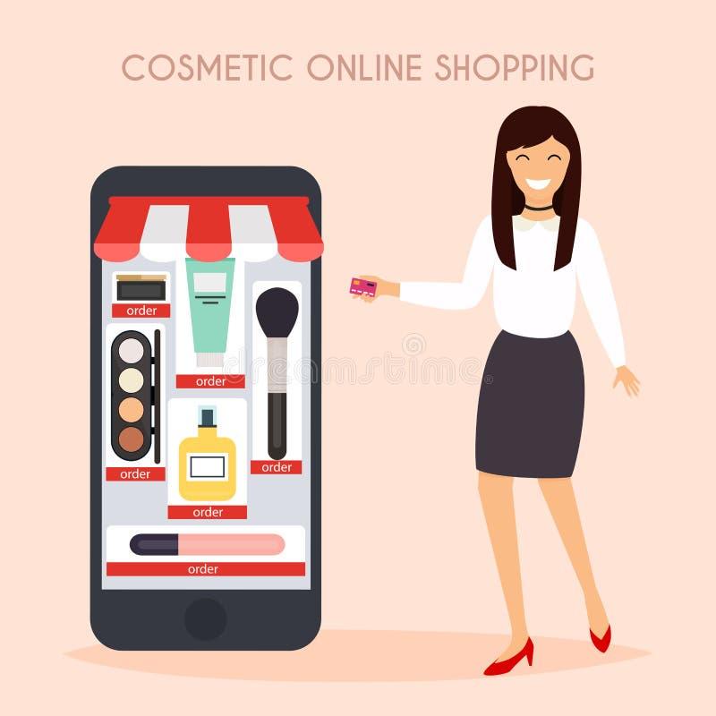 Flickan gör att shoppa direktanslutet från telefonen försäljning Plan design modernt v stock illustrationer