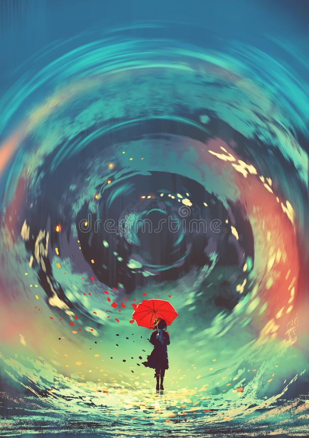 Flickan gör ett virvlande runt vatten med magi royaltyfri illustrationer