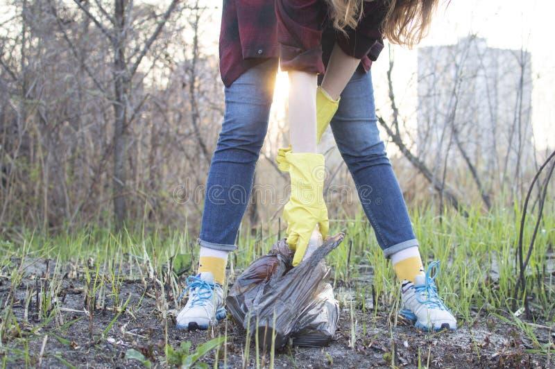 Flickan gör ren parkerar, väljer upp en plast- flaska och kastar den in i avskrädepåsen royaltyfri bild