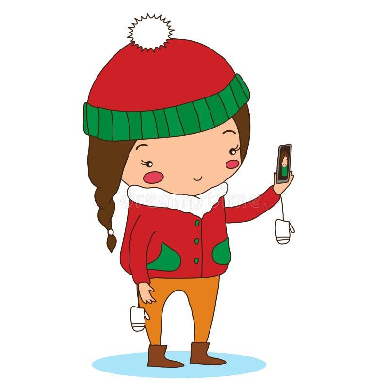 Flickan gör selfie royaltyfri illustrationer