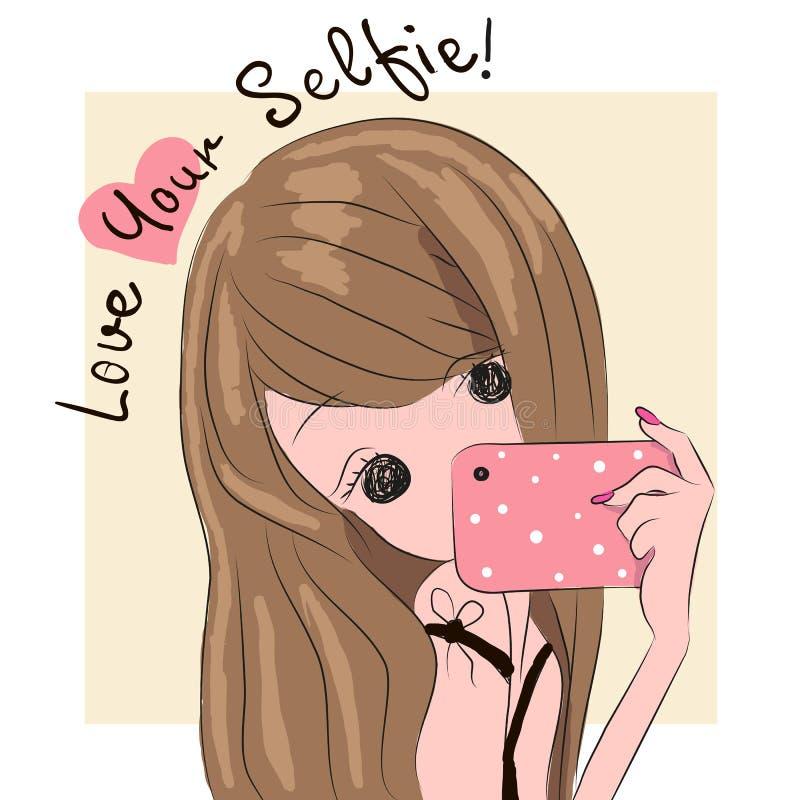 Flickan gör selfie stock illustrationer