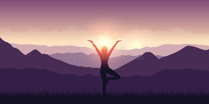 Flickan gör yoga med landskap och solsken för bergsikt purpurfärgat royaltyfri illustrationer