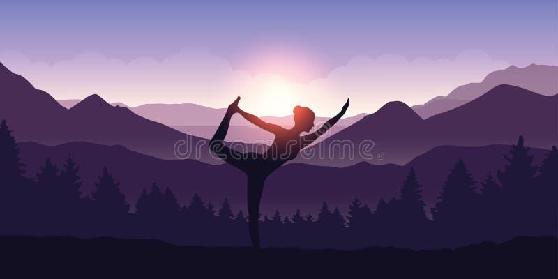 Flickan gör yogadiagramet i berglandskapsikten på soluppgång royaltyfri illustrationer