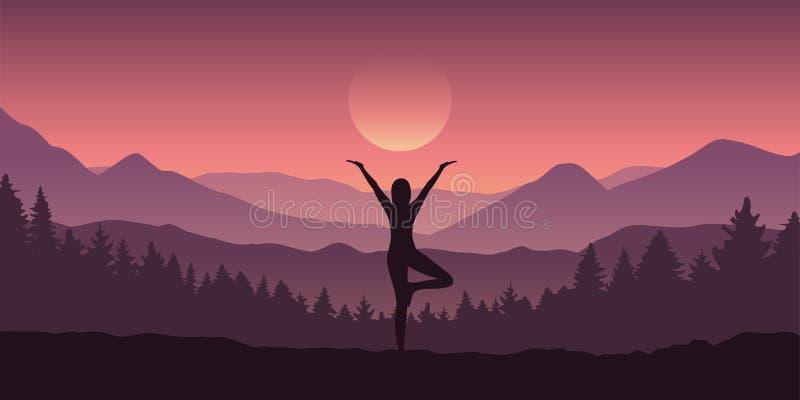 Flickan gör yogaträddiagramet i berglandskapsikten royaltyfri illustrationer