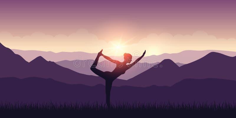Flickan g?r yoga med landskap och solsken f?r bergsikt purpurf?rgat vektor illustrationer