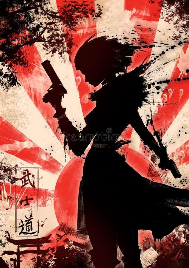 flickan guns två vektor illustrationer