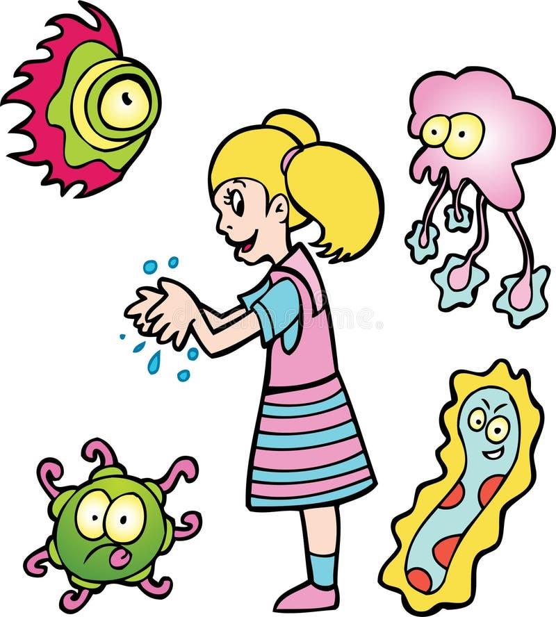flickan hands washes stock illustrationer