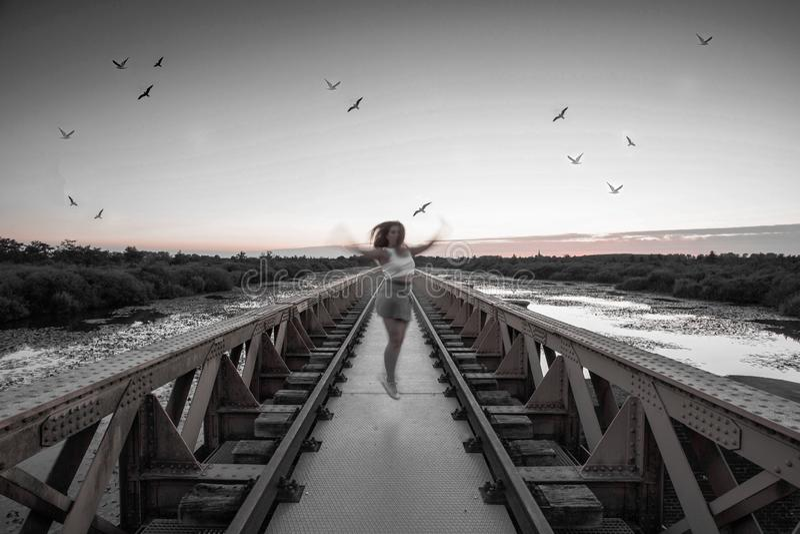 Flickan hoppar på bron som omges av fåglar i aftonen royaltyfria bilder