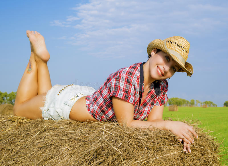 Flickan i cowboyhatten arkivbilder