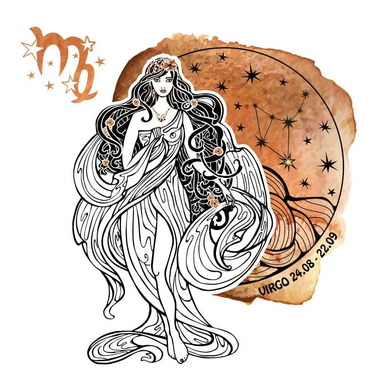 Flickan i den grekiska chitonen och det flödande håret  stå På en vit bakgrund vattenfärg royaltyfri illustrationer