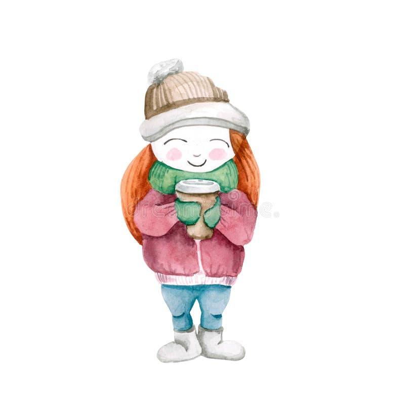 Flickan i den kalla vintern i en hatt med en kopp kaffe i tumvanten bakgrund isolerad white vattenfärg stock illustrationer