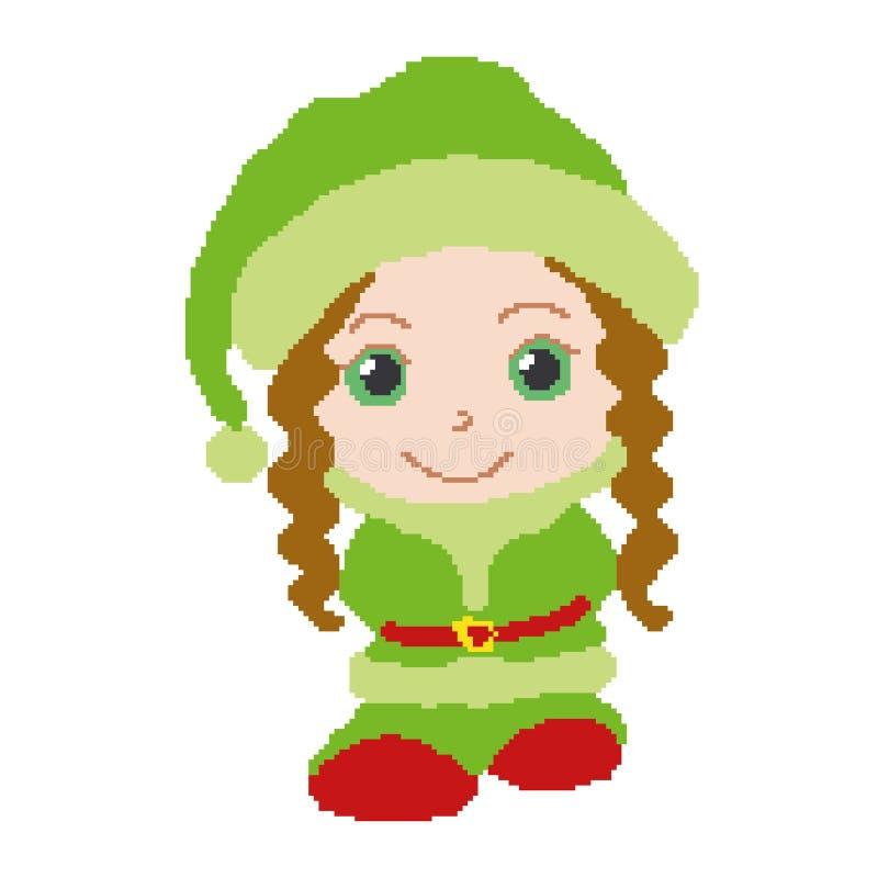 Flickan i dräkten av älvan, den gröna dräkten målade fyrkanter, PIXEL greeting lyckligt nytt år för 2007 kort också vektor för co vektor illustrationer