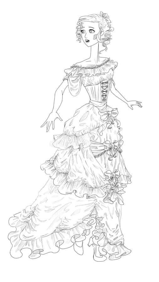 Flickan i en bollklänning vektor illustrationer