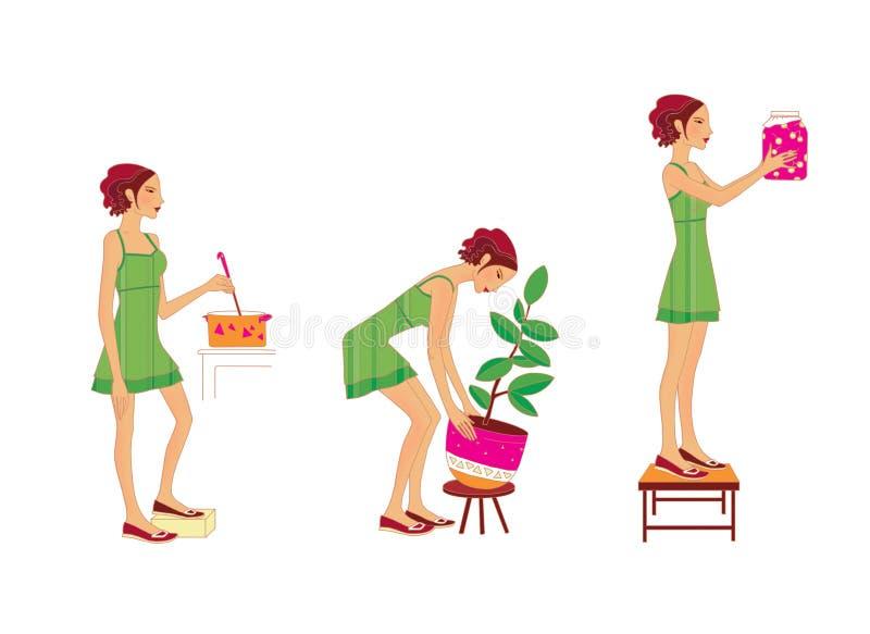 Flickan i en grön klänning lagar mat soppa, lyfter en tung kruka i en blomma, står på en stol, tar bort kruset från hyllan royaltyfri illustrationer