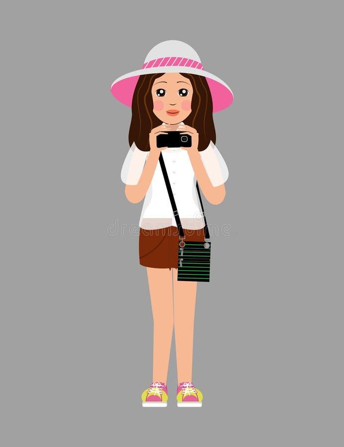 Flickan i en hatt, den vita blusen, kortslutningar, gula gymnastikskor rymmer direkt telefonen royaltyfri illustrationer