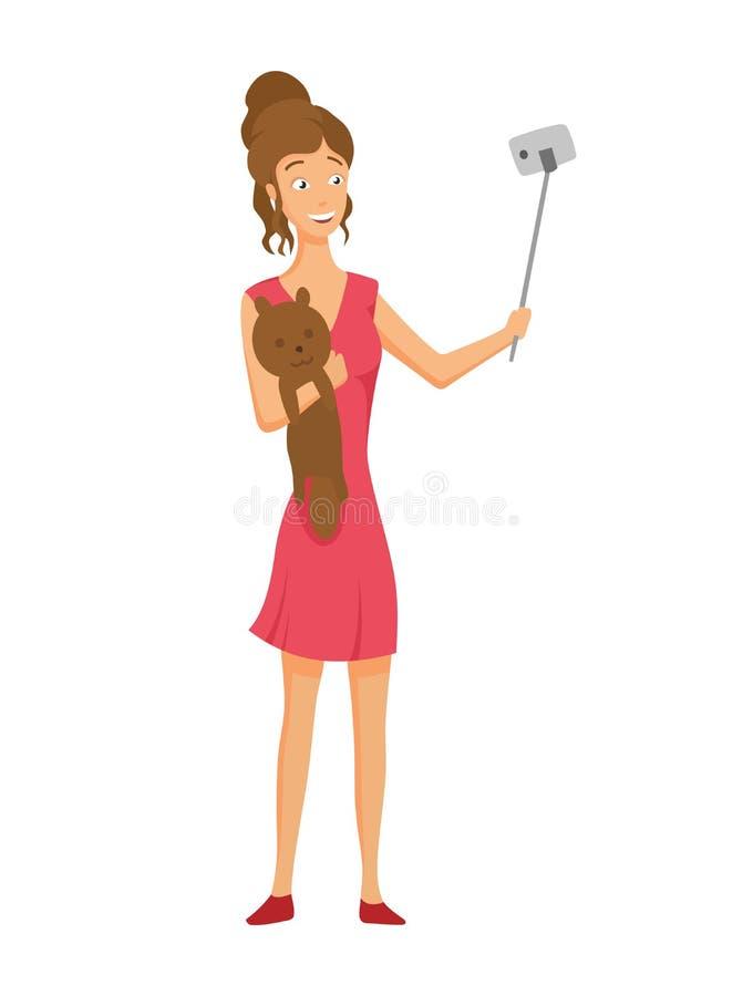 Flickan i en röd klänning med en mjuk leksak gör en selfie royaltyfri illustrationer