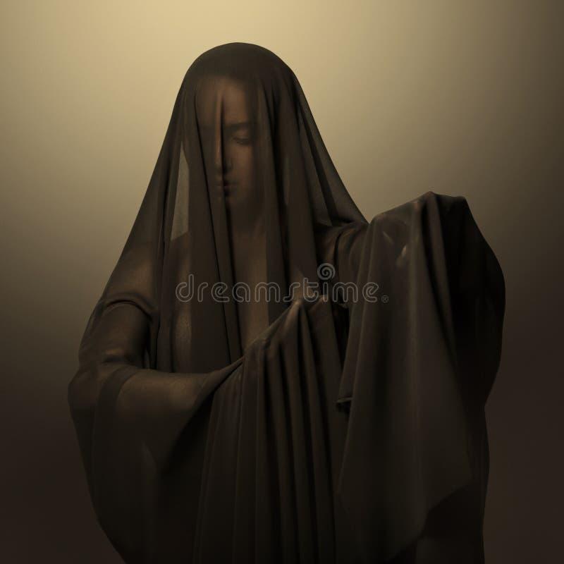 Flickan i ett svart genomskinligt skyler på framsidan Begreppsmässig stående i studion royaltyfri foto