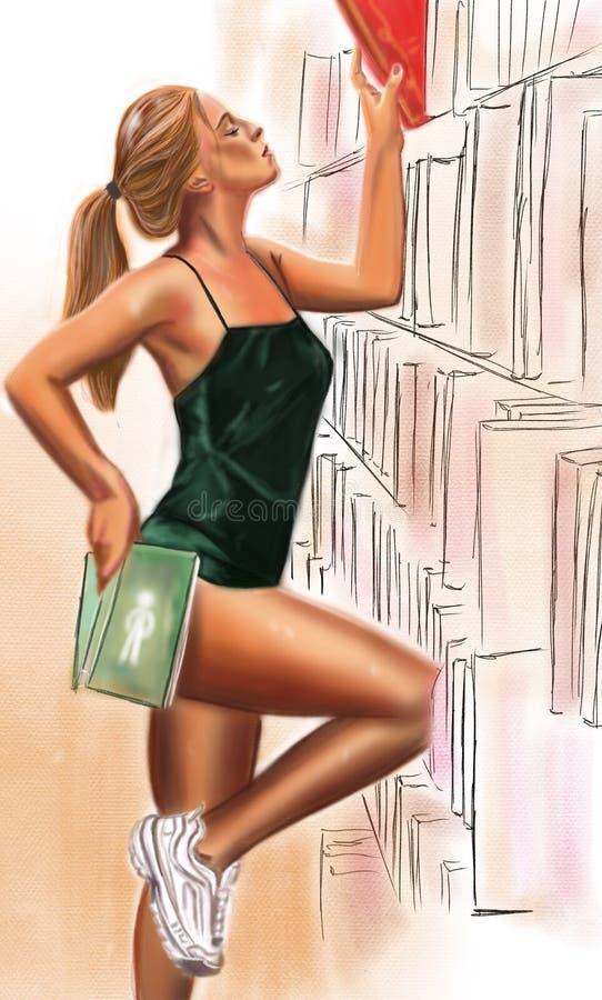 Flickan i gymnastikskor och grön dräkt tar en bok stock illustrationer