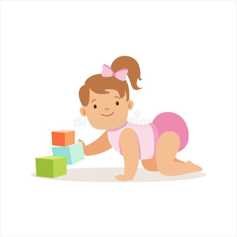 Flickan i nappyen som spelar med kvarter, förtjusande le, behandla som ett barn tecknad filmteckenet varje dagläge royaltyfri illustrationer