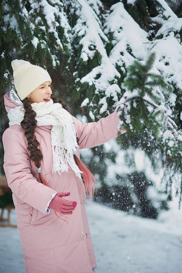 Flickan i rosa lag i snö parkerar Flickan spelar i vinter parkerar Förtjusande barn som går i filialen för handlag för snövinters arkivbilder