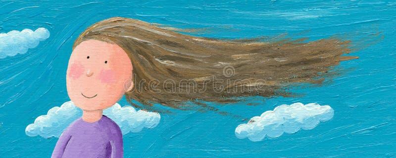 Flickan i vinden känner sig fritt royaltyfri illustrationer