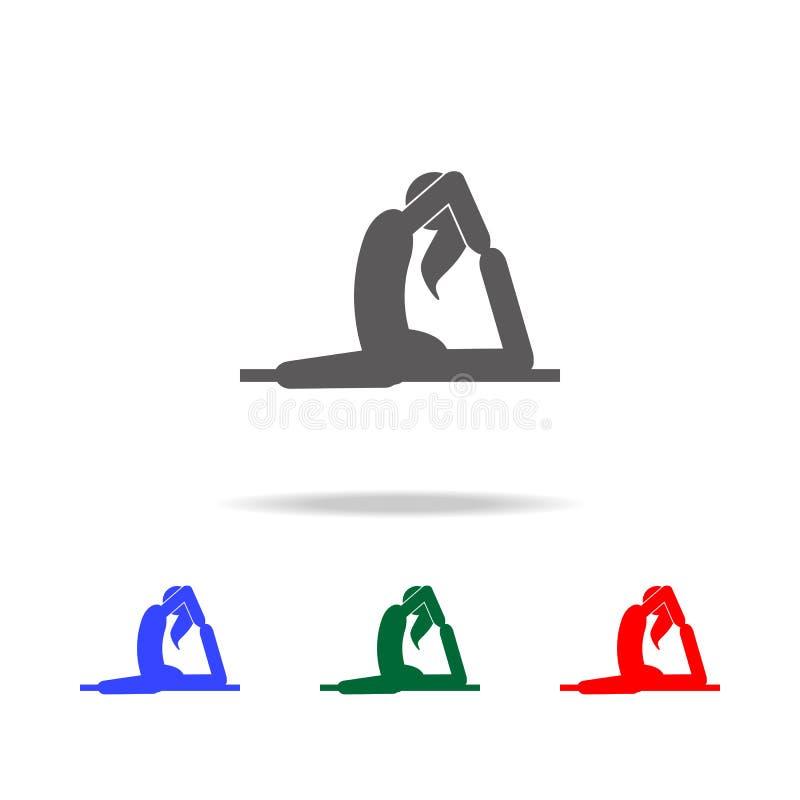 Flickan i yoga poserar symbolen Beståndsdelar av mång- kulöra symboler för indisk kultur Högvärdig kvalitets- symbol för grafisk  royaltyfri illustrationer