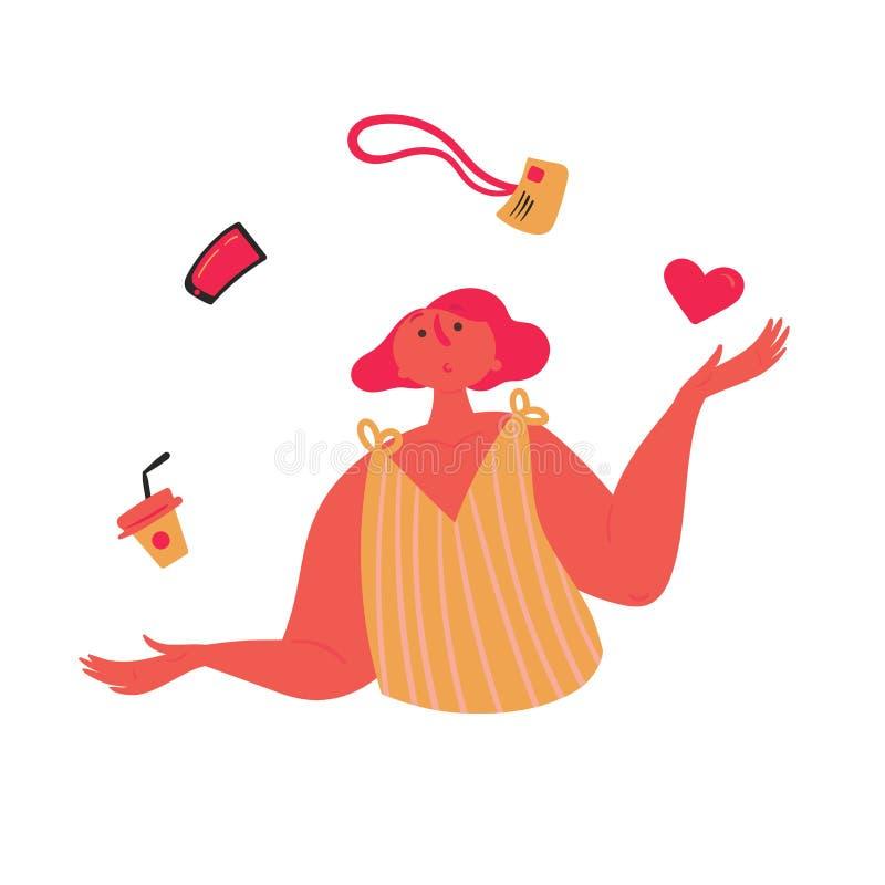 Flickan jonglerar Jämvikt av förälskelse, arbete och fritid stock illustrationer