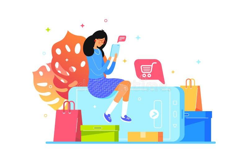 Flickan köper direktanslutet med smartphonen, rengöringsdukshopping stock illustrationer