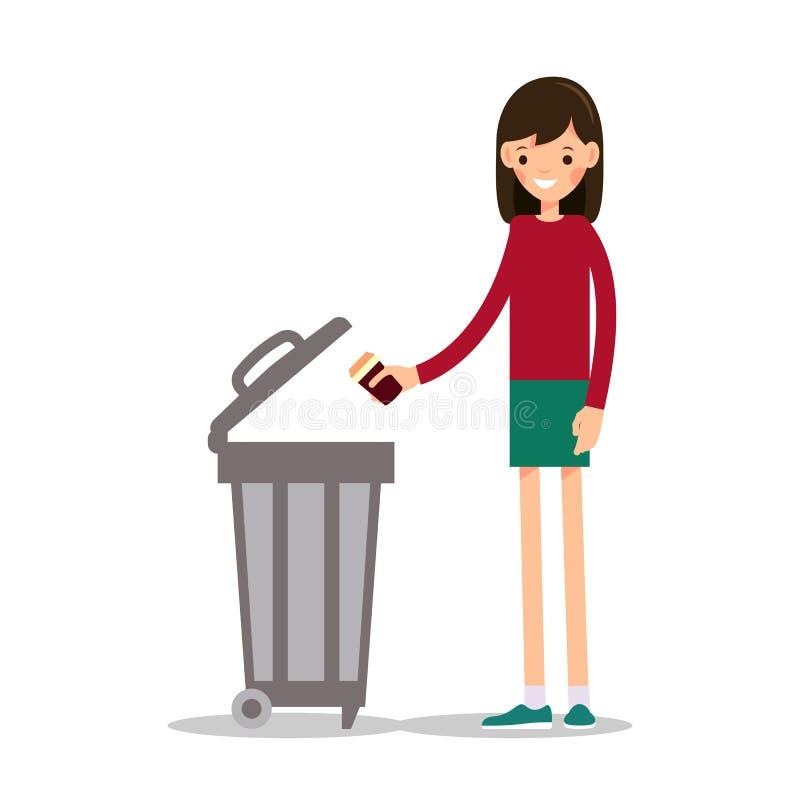 Flickan kastar ut ett kaffe för pappers- kopp från under stock illustrationer