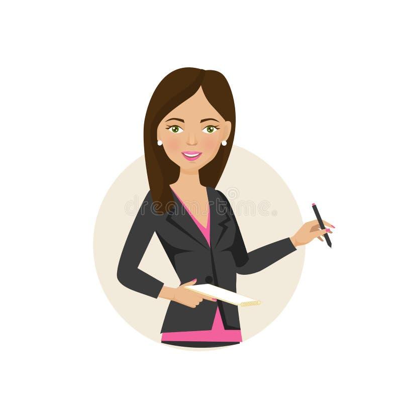 Flickan kontorsarbetare, skriver data till anteckningsboken, fixar viktig information stock illustrationer