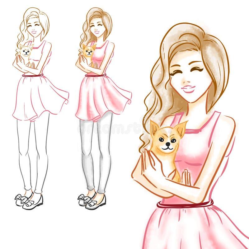 Flickan kramar lite hunden av en chihuahua vektor illustrationer