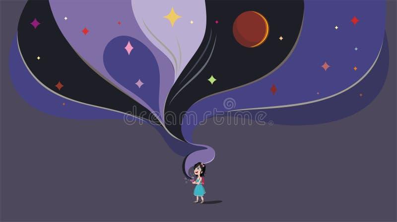 Flickan låter ut utrymme från en skyttel, fantasi av barnet, magi, dag av skydd av barn, illustration stock illustrationer