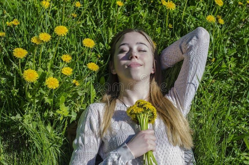 Flickan ligger i en röjning med en bukett av maskrosor royaltyfria bilder