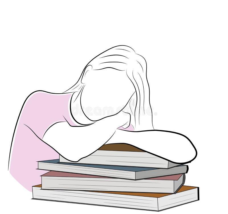 Flickan ligger luta på böcker Begreppet av studien också vektor för coreldrawillustration stock illustrationer
