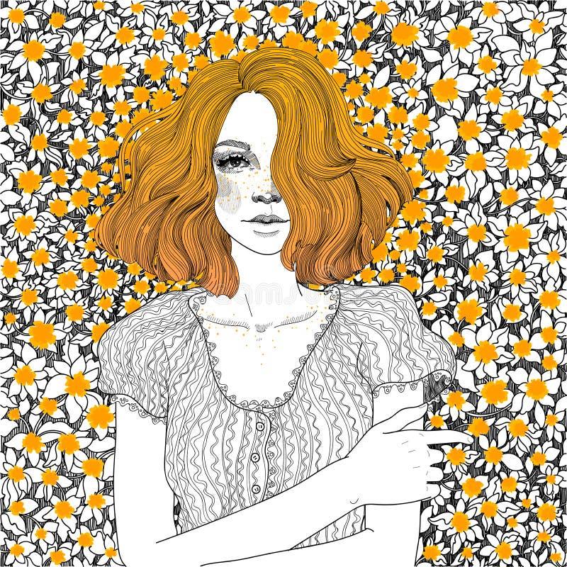 Flickan ligger på en äng av maskrosor royaltyfri illustrationer