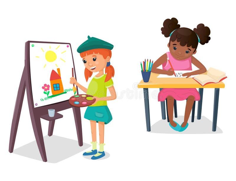 Flickan målar en teckning på staffli med målarfärgpaletten och borsten i hennes hand Den annan flickan skriver på nummer royaltyfri illustrationer