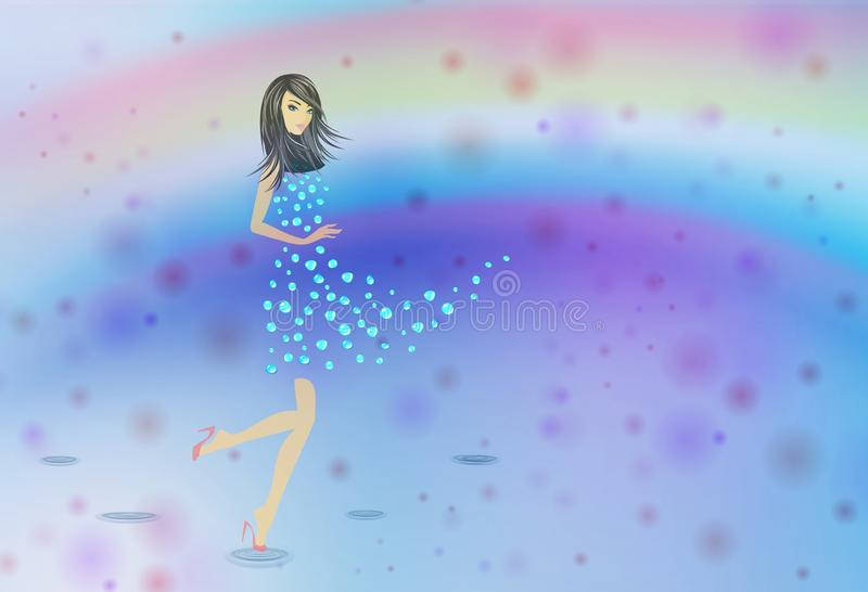Flickan med abstrakta vattendroppar klär på regnbågebakgrund vektor illustrationer