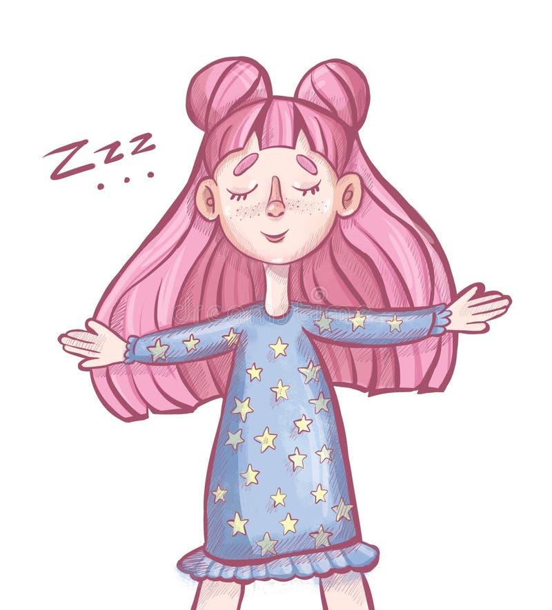 flickan med det rosa håret sover royaltyfri illustrationer