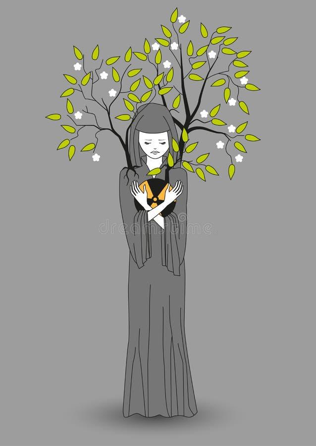 Flickan med ett grått kappainnehav räcker utstrålning och sparar miljön från förorening som blöter den i dem royaltyfri illustrationer