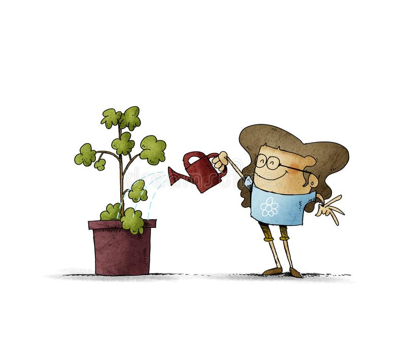 Flickan med glasögon vattnar en växt med en vattentäta burk isolerad royaltyfri bild